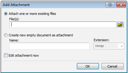MindManager Attachment dialogue
