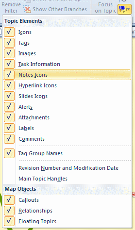 Show/Hide Dropdown showing options in MindManager 2012