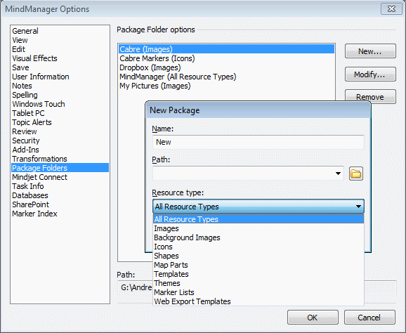Selecting the resource type and location of your MindManager Package Folders