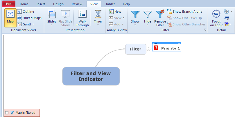 Mindjet / MindManager Filter Overlay - Filter indicated