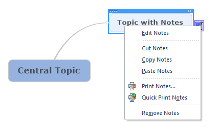 Mindjet Notes right click