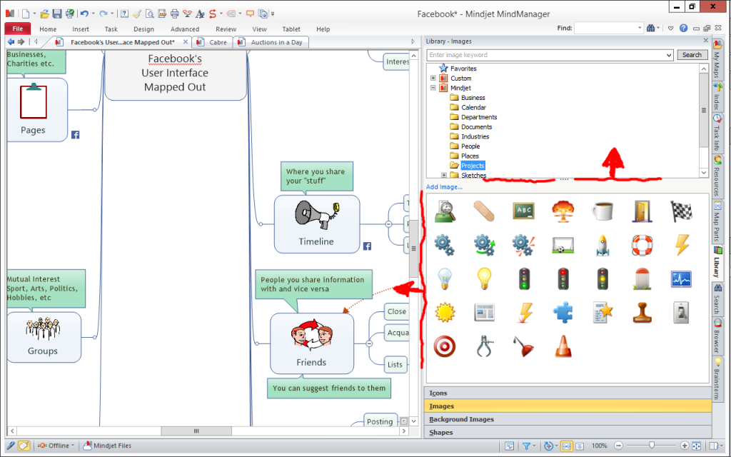 MindManager Screenshot adjusting image selection pane